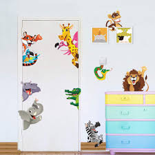 Amazon Com Jungle Animals Wall Stickers For Kids Rooms Home Door Decor Cartoon Lion Elephant Giraffee Wall Decals Pvc Mural Art Diy Posters Animal 2 Baby