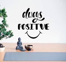 Vinyl Wall Decal Lettering Phrase Always Positive Smile Stickers Mural Wallstickers4you
