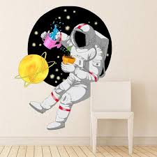 Shop Astronaut Space Planet Full Color Wall Decal Sticker K 1228 Frst Size 33 X40 Overstock 21477211