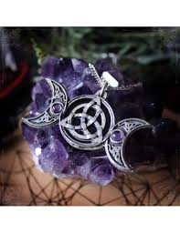 triple moon and triquetra pendant