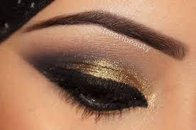 golden and black eye makeup saubhaya