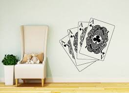 Cards Wall Decals Poker Decal Cards Casino Vinyl Stickers Home Etsy