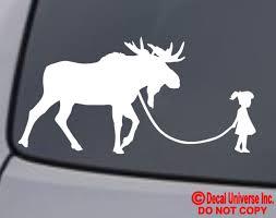 Girl Walking A Moose Vinyl Decal Sticker Car Window Wall Bumper Funny Pet Cute For Sale Online