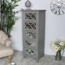 grey mirrored tallboy chest of drawers