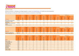 printable nutrition guide dunkin donuts