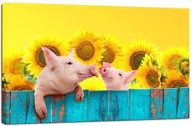 Canvas Prints Funny Pig Hanging On A Fence Wall Art Animal Painting Sunflower Photos With Frame Ready To Hang Modern Picture For Kids Room Home Wall Decoration 24x36inch Lazada Ph