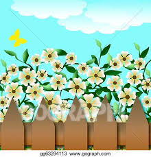 Drawing Flower Garden And Fence Clipart Drawing Gg63294113 Gograph