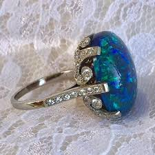 vintage black opal ring solid black