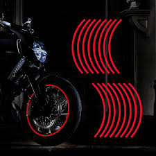 Amazon Com Tomall 17 Reflective Wheel Rim Stripe Decal For Motorcycle Wheels Car Cycling Bike Bicycle Night Reflective Safety Decoration Stripe Universal Rim Reflective Stickers Red Automotive