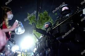 officer gestures protester Addie Mitchell step back Editorial Stock Photo -  Stock Image   Shutterstock