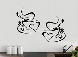 Coffee Cups Kitchen Wall Sticker Cafe Tea Vinyl Decal Art Restaurant Pub Decor