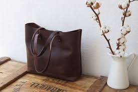 dark brown leather tote bag cabas illa