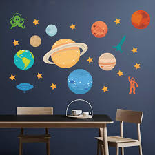 Decalmile Outer Space Wall Decals Planets Rocket Astronaut Wall Stickers Kids Bedroom Playroom Wall Decor Kids Room Decor Kids Room Decor Wall Decor