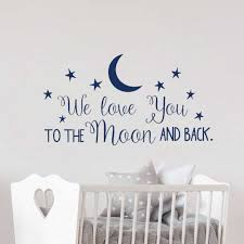 Nursery Wall Decal Classic Quote We Love You To The Moon And Back Vinyl Wall Stickers Sayings Kids Room Wall Decor Mural G273 Wall Stickers Aliexpress