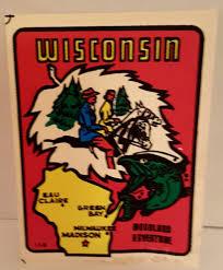 Vintage Wisconsin Woodland Adventure Souvenir State Travel Car Decal Car Travel Car Decals Wisconsin