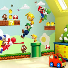 Large Super Mario Bros Kids 44 Removable Wall Sticker Decals Etsy