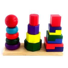 Bộ đồ chơi gỗ tháp cầu vòng 3 cọc xếp hình to cho trẻ em