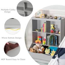 Unbranded 3 Shelf Kids Grey Wooden Multi Functional Bookcase Floor Toy Storage Display Hw64061gr The Home Depot