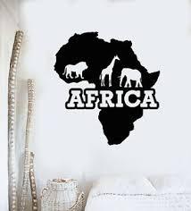 Vinyl Wall Decal Animals Giraffe Elephant Lion Africa Continent Stickers G2192 Ebay