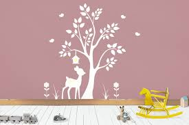 Forest Wall Decals Woodland Wall Decals White Color Style White Themed Wall Animal Decals Deer And Tree Wall Sticker 84 X 78 Forest Wall Decals Woodland Wall Decals Woodland Decal