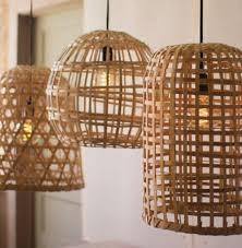 split wood basket pendant light
