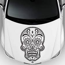 Amazon Com Car Decal Hood Sticker Vinyl Design Crazy Skull Pinstripes Jaw Interior Symbol M708c Kitchen Dining