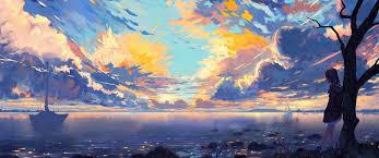 3440x1440 anime landscape sea