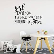 Amazon Com Girl Noun Quote Wall Decal Vinyl Sticker For Tween Or Teen S Bedroom A Giggle Wrapped In Sunshine Glitter Cursive And Decorative Fonts Handmade
