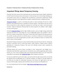 Important Things About Temporary Fencing