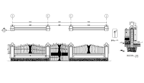 Gate And Fence Elevation And Auto Cad Drawing Details Dwg File Cadbull
