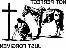 Christian Cowboy Praying Horse Cross Car Truck Window