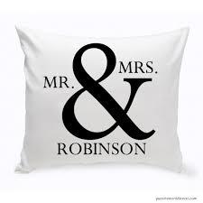mr mrs decorative cotton throw pillow