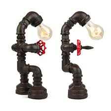 Wrought Iron Robot Table Lamp Industrial Single Bulb Desk Lamp For Restaurant Kids Room Living Room Takeluckhome Com