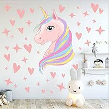 Amazon Com Aiyang Pink Unicorn Wall Decals Stars Love Hearts Stickers Girls Babies Children Teens Bedroom Playroom Decoration Kitchen Dining