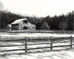 Old Barn In Franklin Tennessee Drawing By Janet King