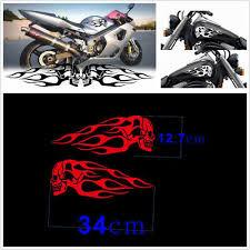 Waterproof 2pcs Red Motorcycle Skull Flame Stripes Gas Tank Vinyl Decal Sticker Ebay