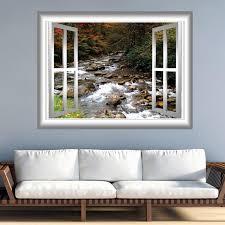 Rocky Mountain Stream 3d Window Frame Wall Mural Water Scene Etsy