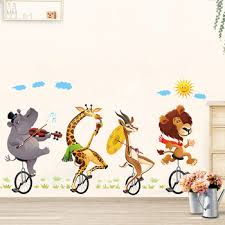 Animal Forest Lion Large Wall Stickers Decals Kids Room Decor Nursery School Diy Removable Leather Bag