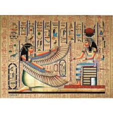 maat and isis ancient egyptian papyrus