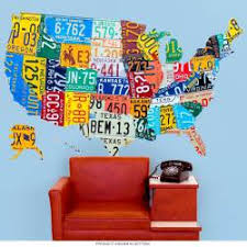 Usa 50 Map License Plate Style Wall Decal At Retro Planet