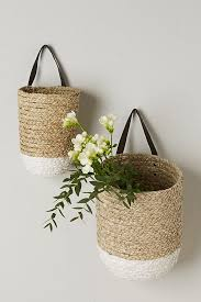 hanging wicker and rattan basket
