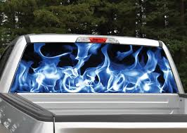 Blue Flames Rear Window Graphic Decal Miller Graphics