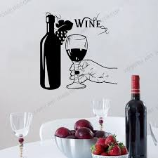 Vinyl Wall Decal Wine Bottle Hand Glass Grapes Restaurant Alcohol Sticker For Pub Dining Room Kitchen Wall Decoration Rb338 Wall Stickers Aliexpress