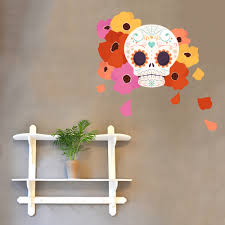 Sugar Candy Skull With Flowers Wall Decal Wallums