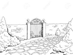 Wall Fence Gate Landscape Graphic Black White Sketch Illustration Royalty Free Cliparts Vectors And Stock Illustration Image 68695580
