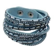 sky blue crystal leather wrap bracelet