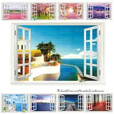 9 Styles 3020 Removable Beach Sea 3d Window Scenery Wall Sticker Home Decor Decals Mural Decal Exotic Beach View Stickers Home Decor Window Scenerywall Stickers Home Decor Aliexpress