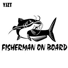Yjzt 20cm 10 8cm Fisherman On Board Catfish Fishing Decal Car Truck Boat Bumper Window Vinyl Sticker Black Silver C10 00075 Car Stickers Aliexpress