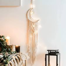 Amazon Com Khoyime Moon Dream Catcher Macrame Wall Hanging Bohemian Home Decor Handmade Woven Decoration For Kids Room Home Wedding Ornament Craft Gift Moon No Light Home Kitchen