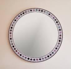 large mosaic mirror in purple grey